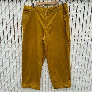Golden Yellow Corduroy Cropped Pants